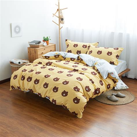 best price yellow bedding set cute bear printed duvet