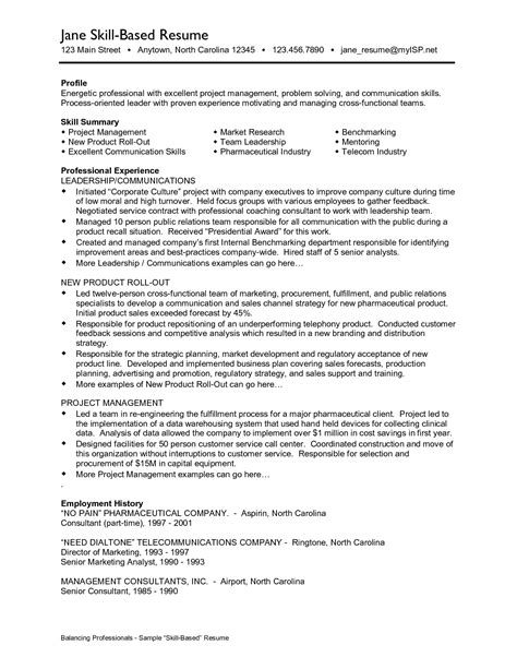 skills based resume templates sle resume skills based resume resume cover letter