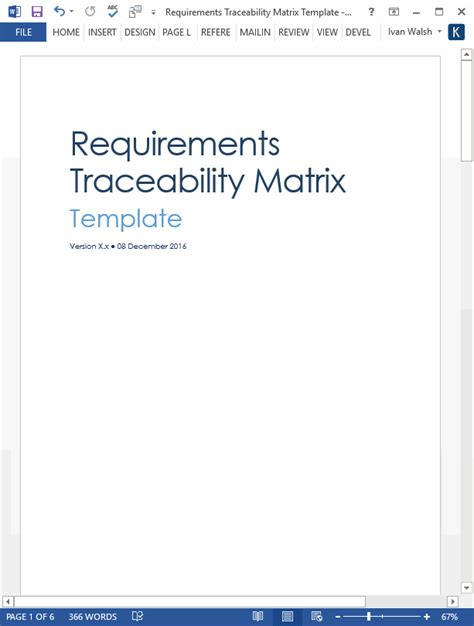 Requirements Traceability Matrix Template Excel by Verification And Validation Plan Ms Word Template