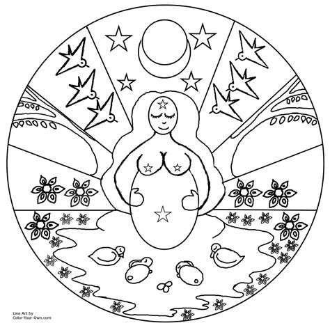 spring mother goddess mandala coloring page