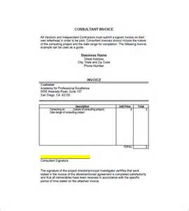 consulting invoice template consulting consultant invoice template 7 free sle