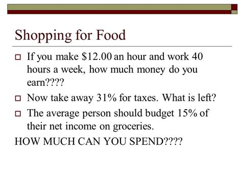 how much money do you give for a wedding shopping for food if you make 12 00 an hour and work 40