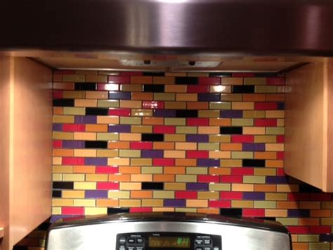 colored glass backsplash kitchen love this custom designed multi colored subway tile