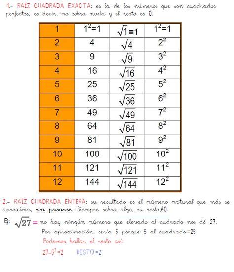 raiz cuadrada 144 el blog de la maestra silvia tercer ciclo la ra 205 z cuadrada