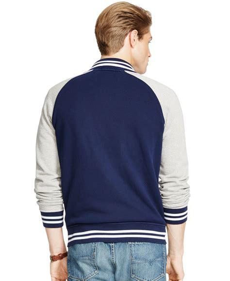 Sweater Baseball Polos Cotton Fleece polo ralph fleece baseball jacket in blue for lyst