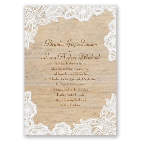 Wedding Invitations With Lace by Wood And Lace Invitation Invitations By