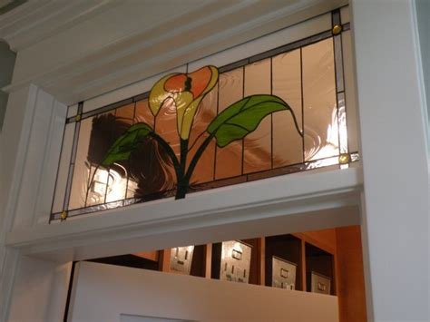 stained glass transom id like this in all white and clear