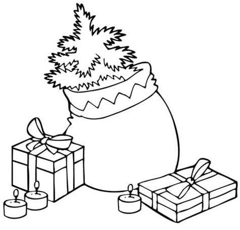 christmas tree with candles coloring page christmas bag with a tree gifts and candles coloring page