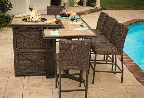 bar height patio table with pit agio luxury high top pit table set 8 bar chairs