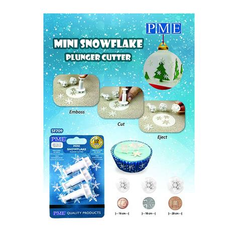 Plunger Cutter Snowflake mini snowflake plunger cutters set 3