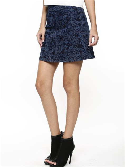 buy oasis printed denim a line skirt for s