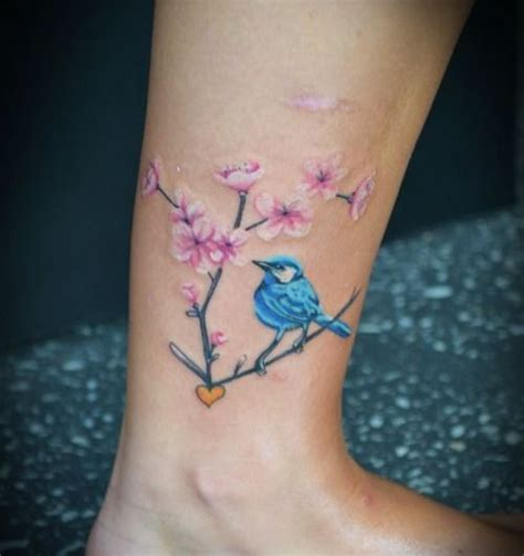 blue cute bird on tree ankle tattoo tattooimages biz