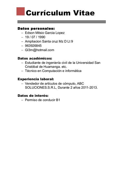 Modelo Curriculum Basico Chileno Vaga De Emprego Brasil Curriculum Vitae B 225 Sico