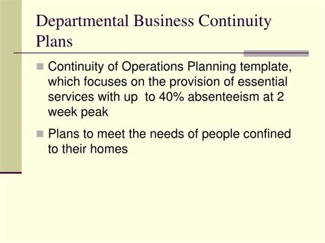continuity of operations plan template ppt pandemic influenza awareness h1n1 2009 powerpoint