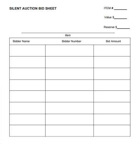 sample silent auction bid forms and free blank silent auction bid