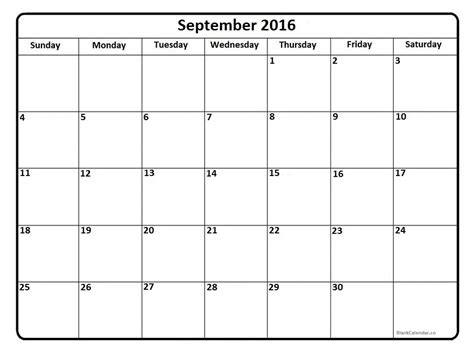september 2016 printable calendar blank templates