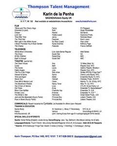 Musical Theatre Resume Exles by Bio Resume Reviews