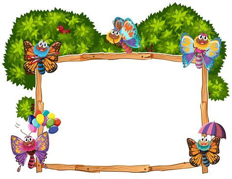 border template  butterflies  garden