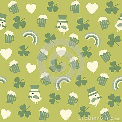 cute icon pattern seamless green background pattern for st patricks stock