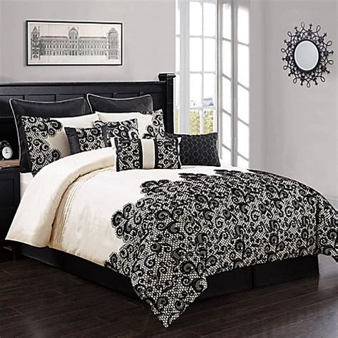 buy marah 10 piece king comforter set in ivory black from