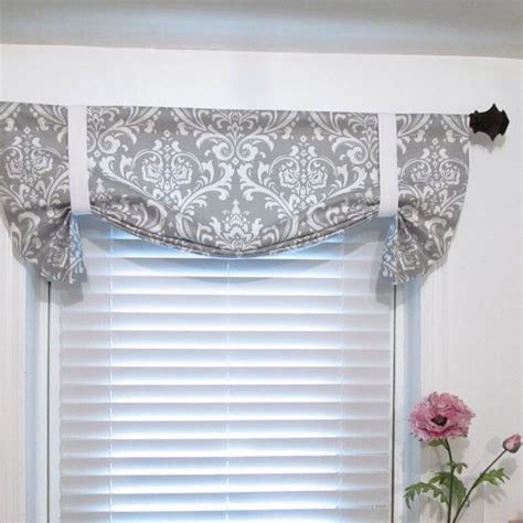 Grey Valance Curtains Tie Up Lined Valance Grey Damask Custom Sizing Available Tie Up Curtains Ties And Curtains