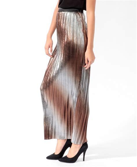 pleated metallic maxi skirt things