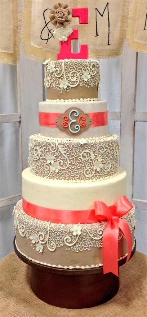 coral and chagne wedding burlap and coral wedding cake wedding ideas