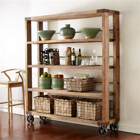 reclaimed wood pipe shelving unit on wheels