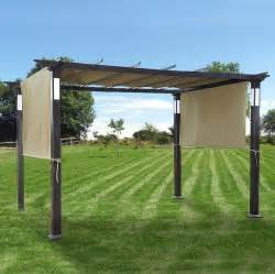 Costco Retractable Awnings Replacement Canopy For Led Lighted Pergola Garden Winds
