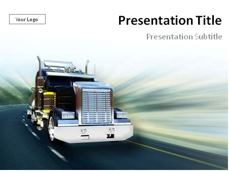 Download Truck On Freeway Powerpoint Template Food Truck Powerpoint Templates