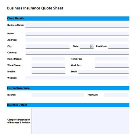 11 Sle Quote Sheets Sle Templates Business Insurance Template