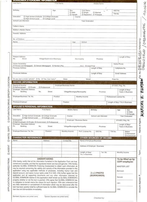 car application business loan application form free printable documents