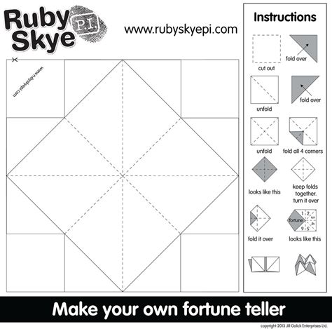 How Do You Make A Fortune Teller Out Of Paper - ruby p i cootie catcher printables play cbc parents