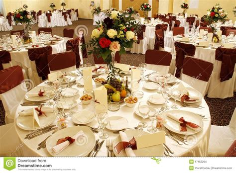 Dining Room Table Centerpiece wedding table in banquet ballroom interior stock images