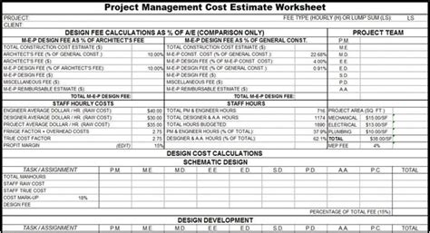 Project Management Cost Estimate Worksheet Cost Estimation Sheet Project Management Sheet Template