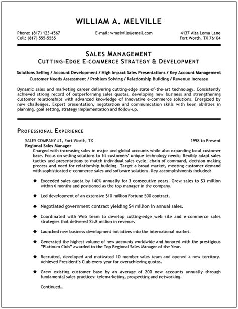Resume Templates For Sales by Sales Manager Resume Exles Search Resumes