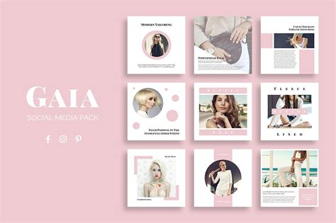 instagram design for today gaia feminine social media pack by slidestation hug a