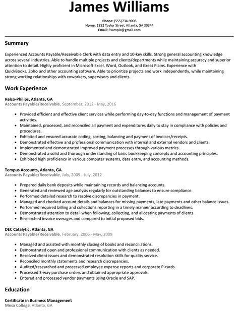 Account Payable Resume by Accounts Payable Resume Gallery Cv Letter And