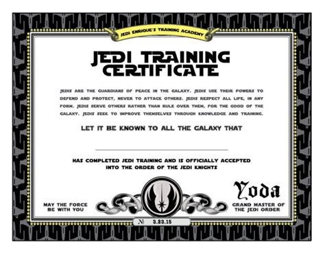 wars jedi certificate template free wars birthday jedi certificate printable