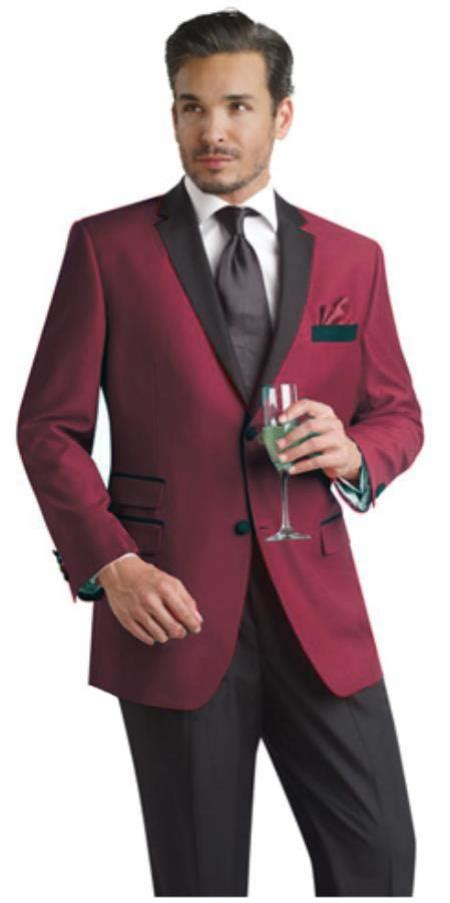 wine color tuxedo burgundy maroon wine color two button notch sui
