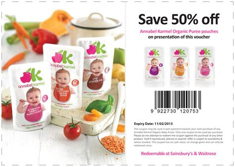 printable coupons uk sainsbury s save 50 off annabel karmel organic puree pouches coupon