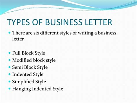 Different Kinds Of Business Letter According To Purpose business letters and different styles