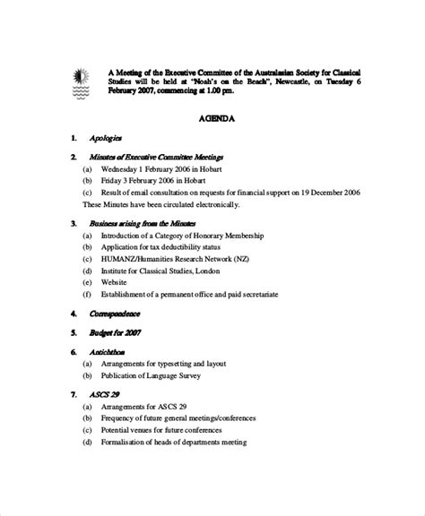 committee meeting agenda template research agenda template research policy agenda 8 policy