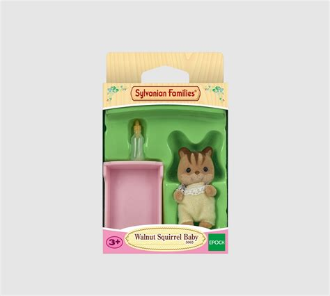 Baby Wear Walnut sylvanian families walnut squirrel baby yellow with pink cot