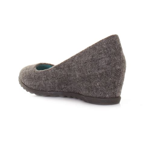 blowfish silver grey herringbone flannel low wedge heel