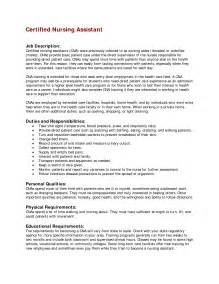 Resume Sles For Nursing Assistant Nursing Assistant Resume Description Cna Duties And Responsibilities