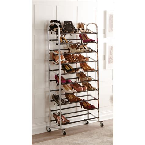 the container store shoe storage chrome metal 10 tier rolling shoe rack the container store