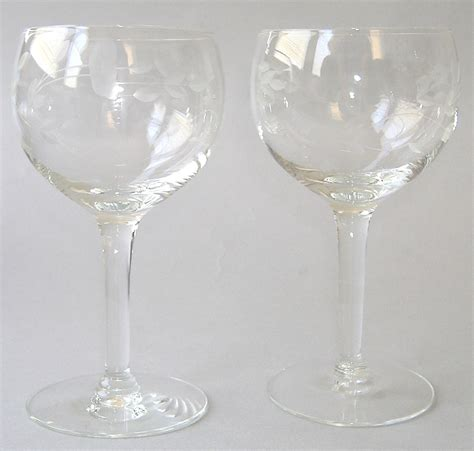 princess house glassware 2 princess house heritage balloon wine handblown crystal cut glass floral glassware