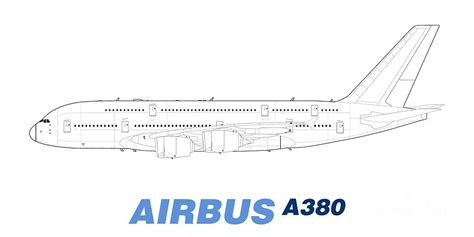 airbus a380 line drawing drawing by steve h clark photography
