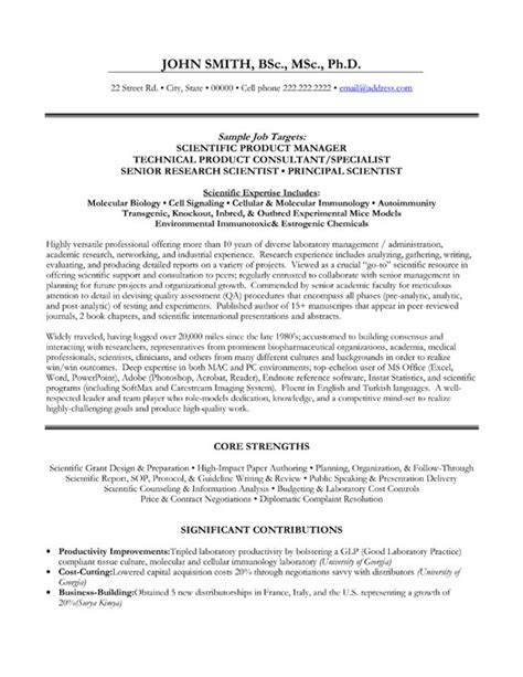 Science Resume Exles by Top Scientist Resume Templates Sles